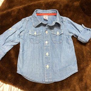 Little boys chambray style blue jean shirt